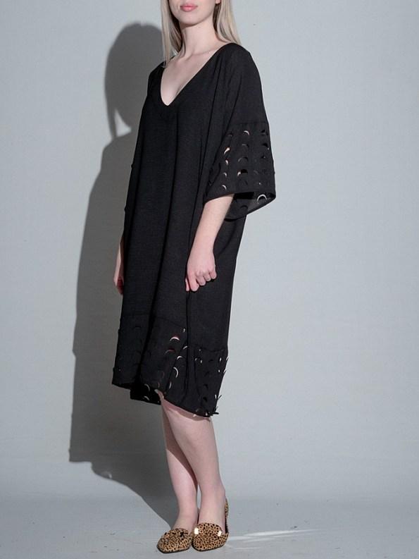 Isabel de Villiers Laser Cut Trim Dress Black Side