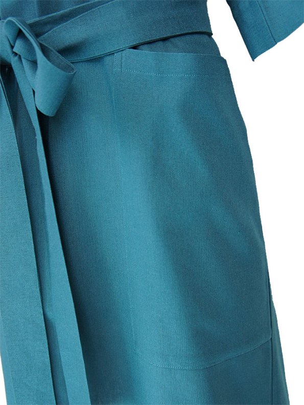 Isabel de Villiers Linen Tunic Dress Teal Detail