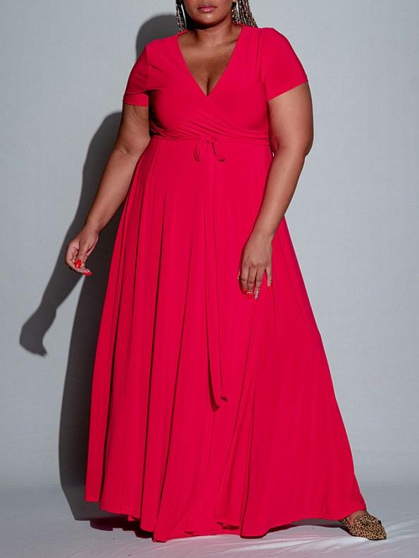 Isabel de Villiers Maxi Wrap Dress Red Front