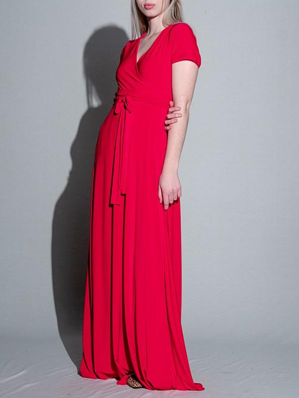 Isabel de Villiers Maxi Wrap Dress Red Side