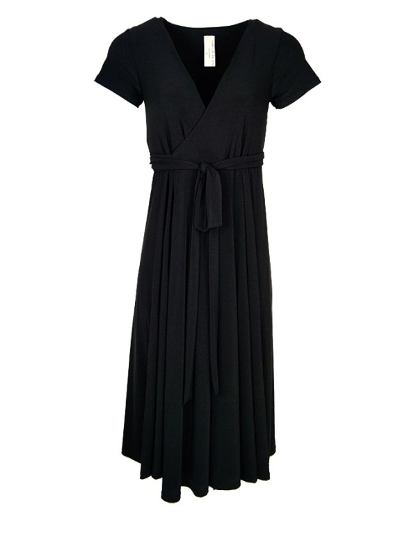 Isabel de Villiers Midi Wrap Dress Black