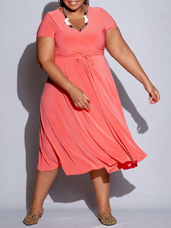 Isabel de Villiers Midi Wrap Dress Coral Front