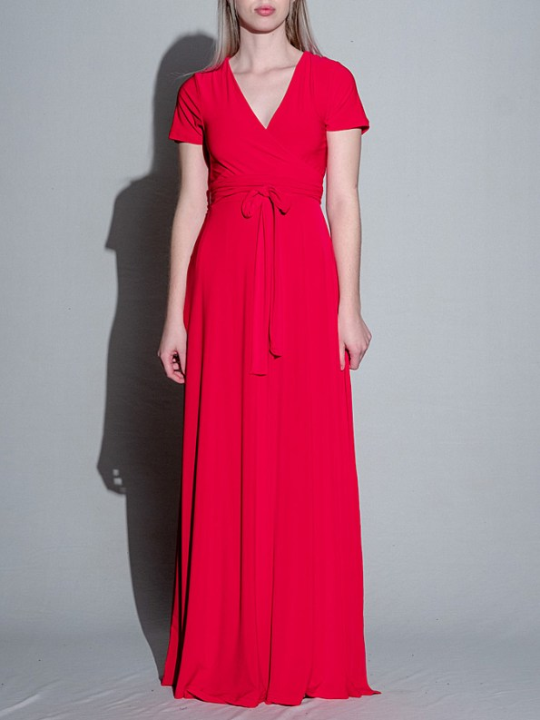 Isabel de Villiers Red Maxi Wrap Dress