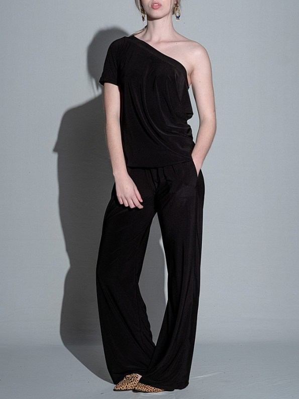 Isabel de Villiers Summer Jumpsuit Black One Shoulder