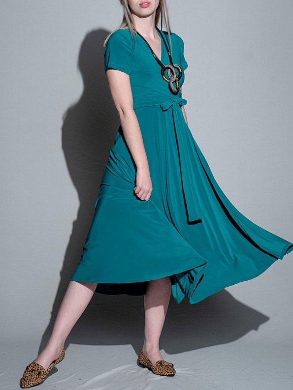 Isabel de Villiers Teal Midi Wrap Dress
