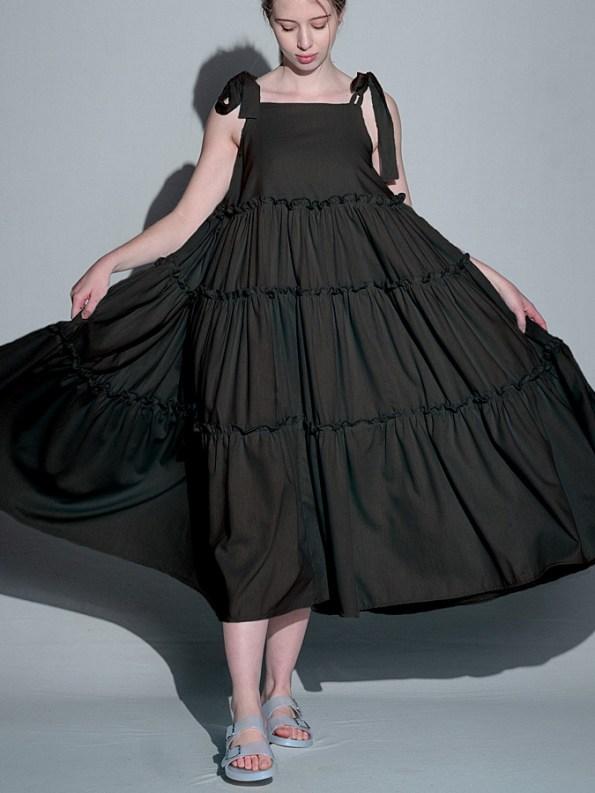 Isabel de Villiers Tiered Maxi Dress, Black Linen Blend Front
