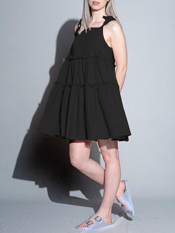 Isabel de Villiers Tiered Mini Dress Black Side