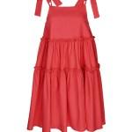 Isabel de Villiers Tiered Mini Dress Coral Linen Blend