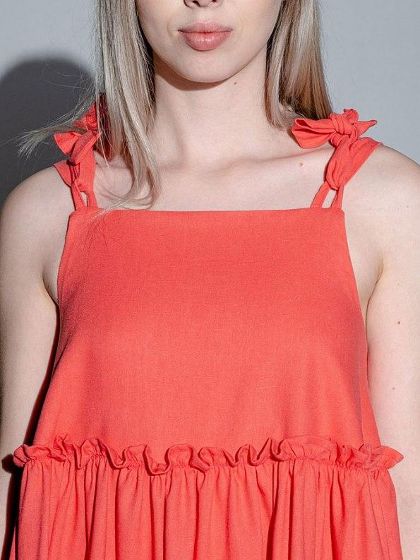 Isabel de Villiers Tiered Mini Dress Coral Top