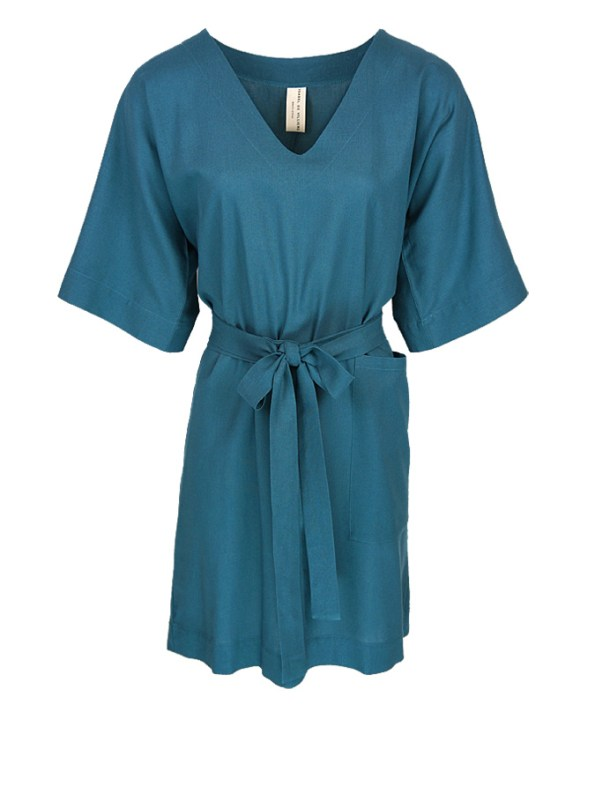 Isabel de Villiers Tunic Dress Teal Linen