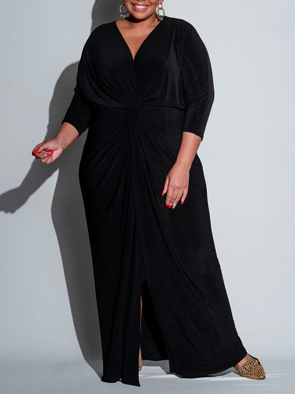 Isabel de Villiers Twist Maxi Dress Black Front