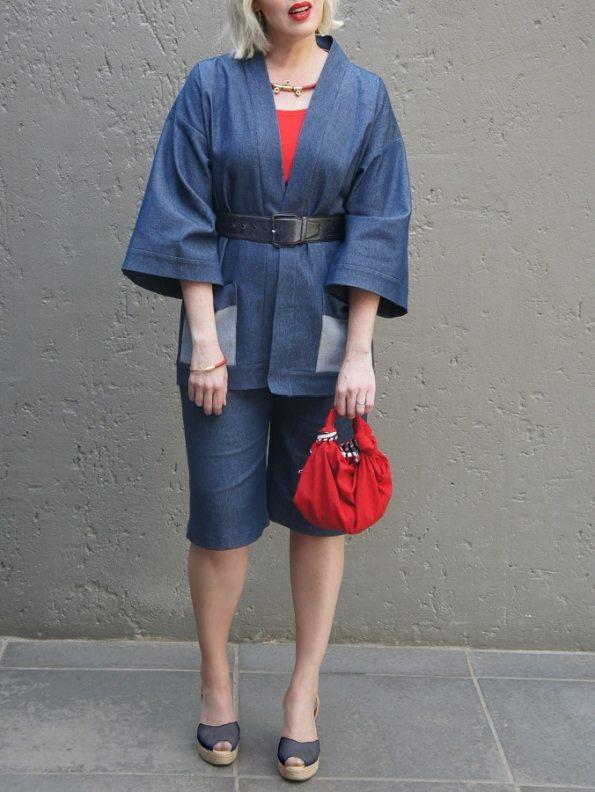 JMVB Kimono Denim Jacket with Bermuda Shorts and Red Bag