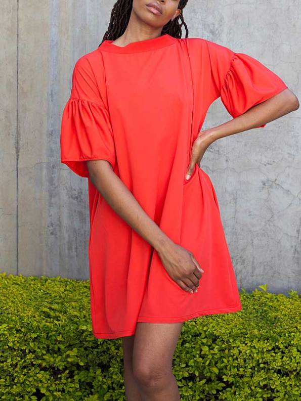 Erre Glide Easy-fit Dress Fire Red Front Crop