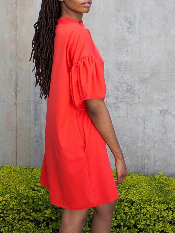 Erre Glide Easy-fit Dress Fire Red Side Crop