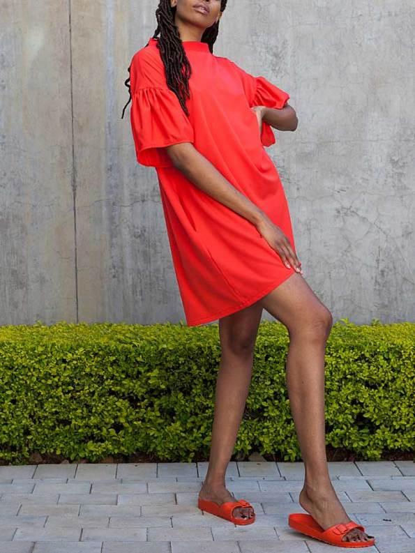 Erre Glide Easy-fit Dress Fire Red Side