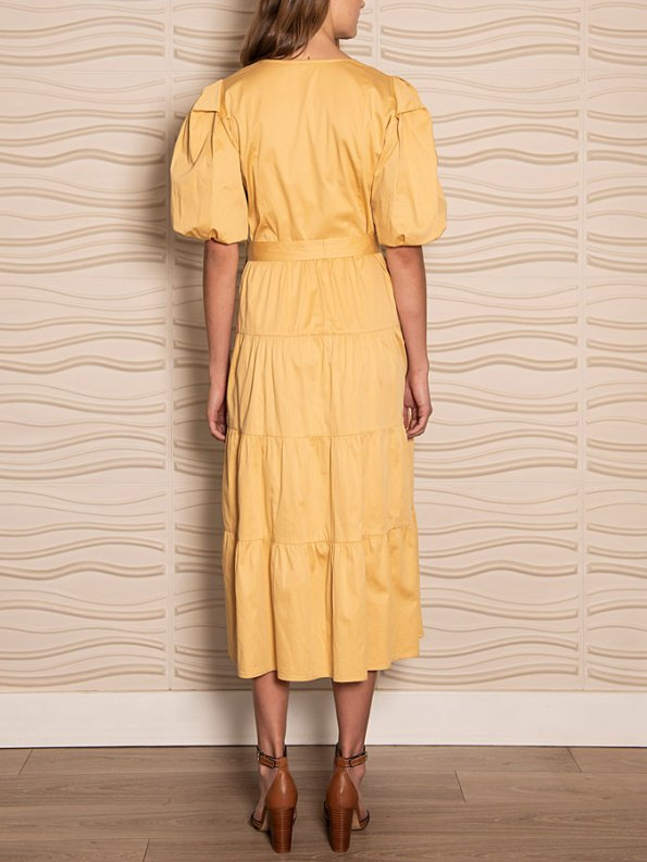 Smudj Puff Sleeve Dress Soft Yellow Back
