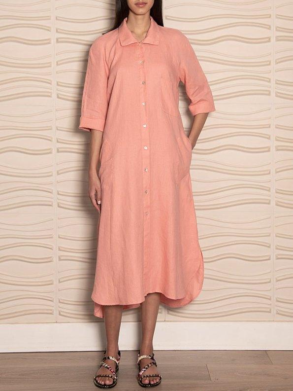 Smudj Seeking Silence Linen Dress Pink Front
