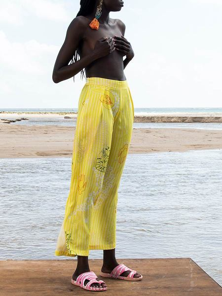 yellow tencel print trousers for women South Africa