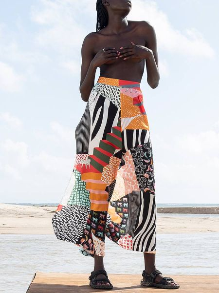 tencel print wide leg pants women South Africa