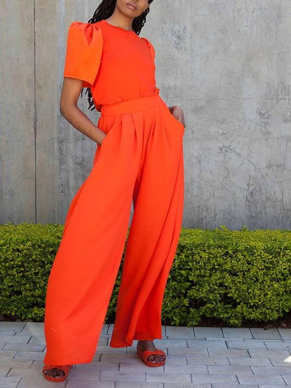 Erre Stride Wide Leg Pants and T-shirt Orange Pockets