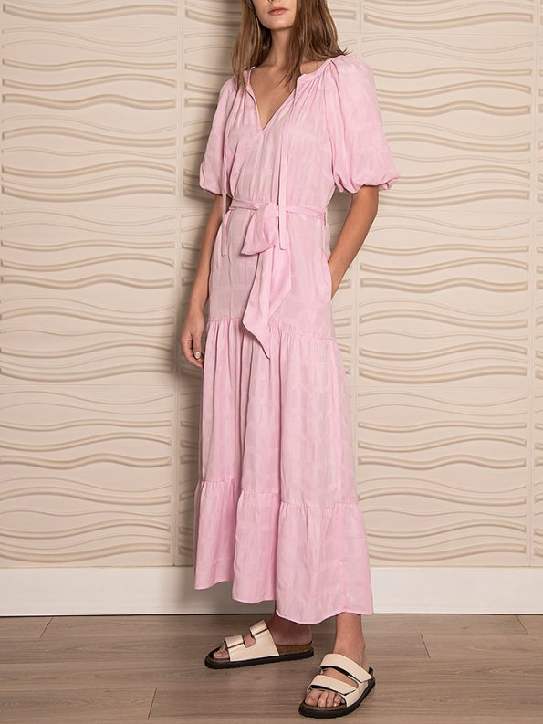 Smudj Chasing Aimee Swing Dress Pink Front Angle