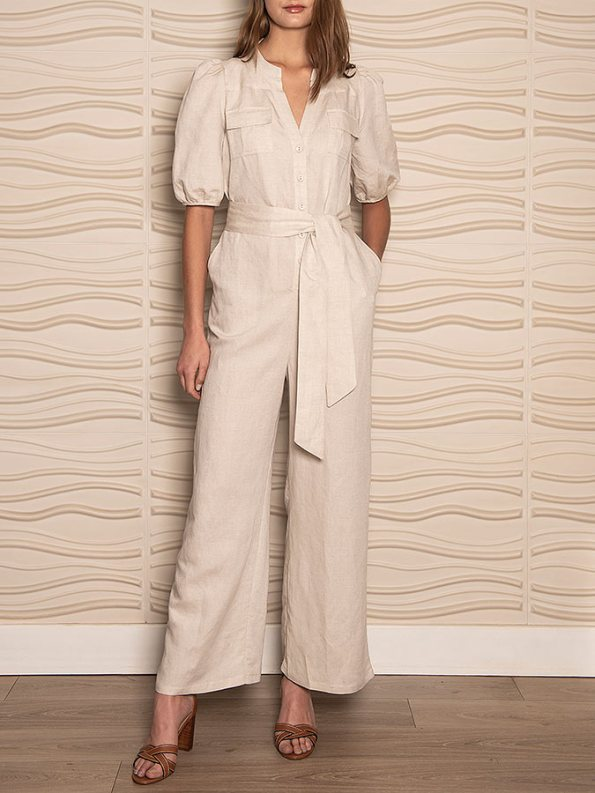 Smudj Resolute Utility Jumpsuit Stone Linen Front