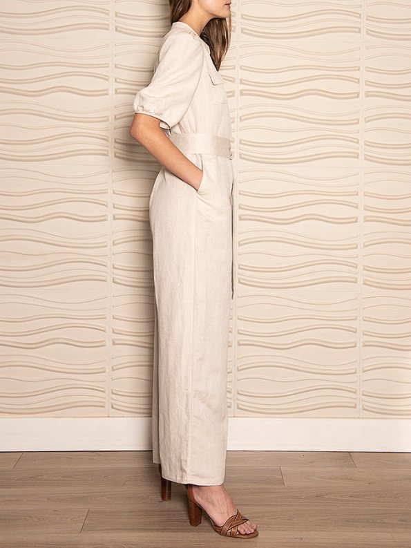 Smudj Resolute Utility Jumpsuit Stone Linen Side On
