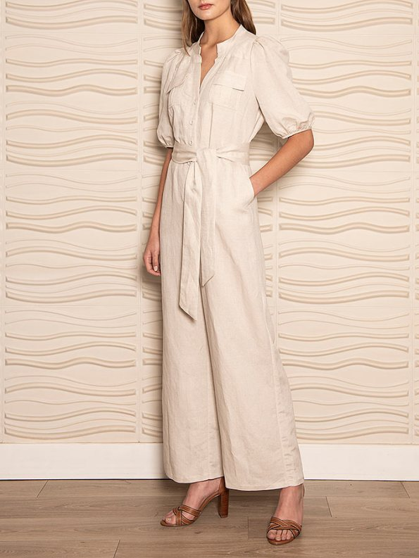 Smudj Resolute Utility Jumpsuit Stone Linen Side