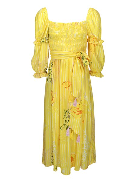 Tencel yellow midi length dress South Africa