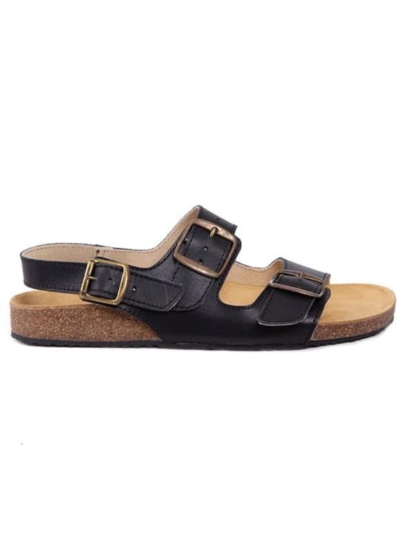 Glenda Slide Black Leather with Back Strap Side