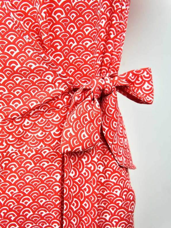 Good Bella Jumpsuit Red Fans Side Tie