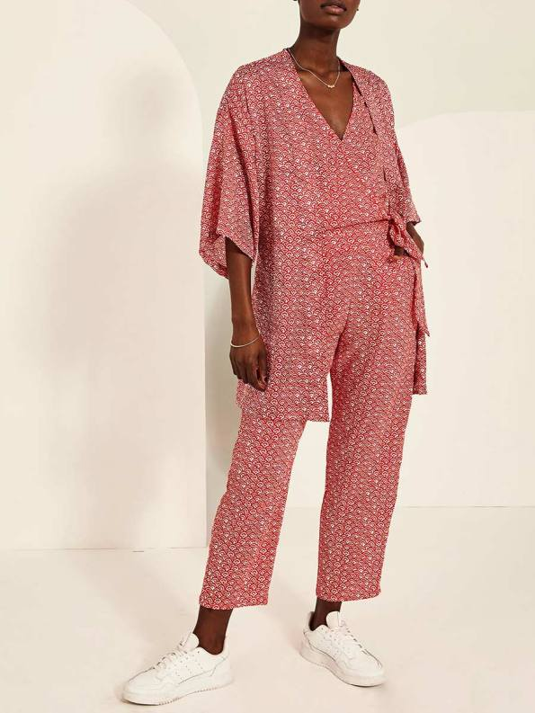 Good Bella Jumpsuit Red Fans with Kimono