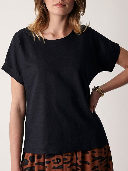 Linen T-shirt Navy Women South Africa