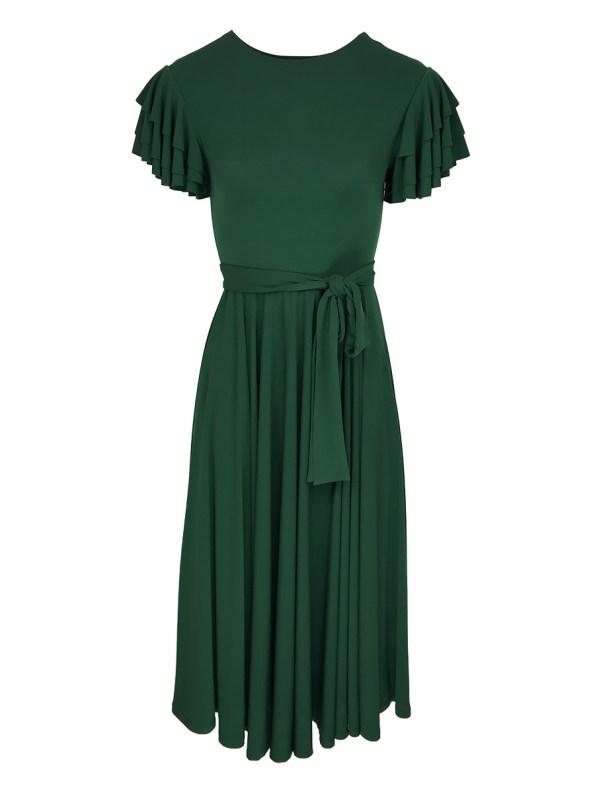 Erre Flutter Dress Emerald Green