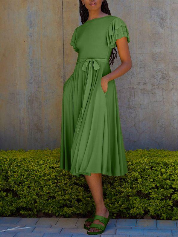 Erre Flutter Dress Spring Green Front
