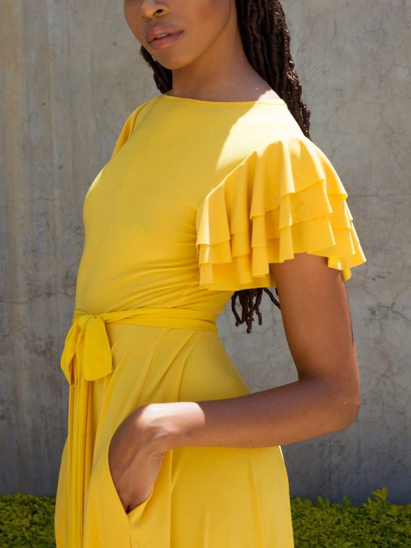 Erre Flutter Dress Yellow Cropped