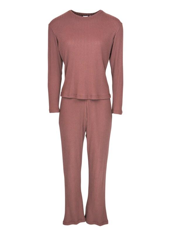 JMVB Lux Loungewear Set with LS Top Cognac