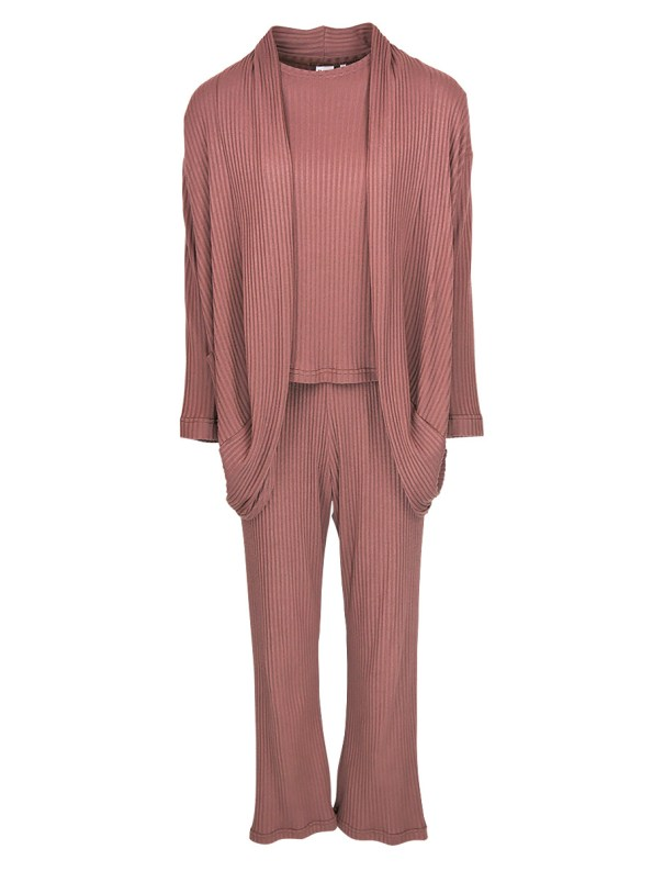 JMVB Lux Loungewear Set with LS Top and Cardigan Cognac _SHPN100