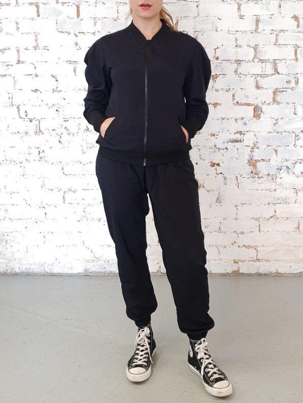JMVB Zip Up Taslon Tracksuit Black Zipped Up