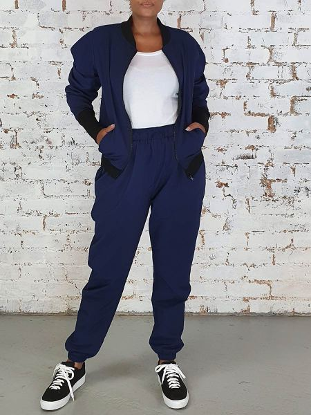 Navy zip up jacket and sweatpants set for women South Africa