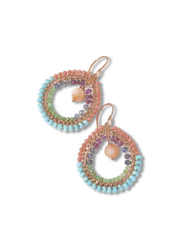 Kirsten Goss Fabrix Earrings Pink Blue Gold