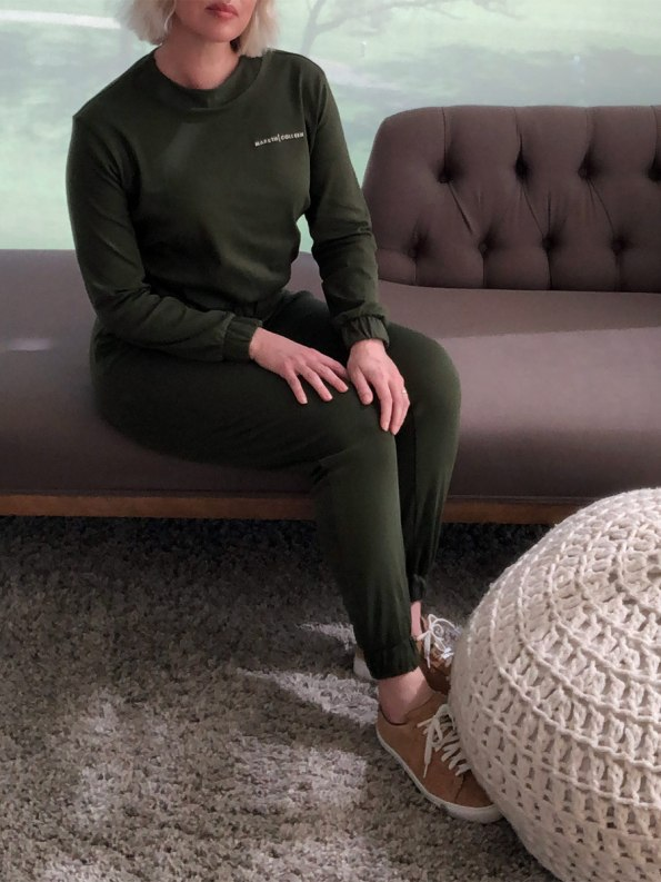 Mareth Colleen Tracksuit Olive Seated