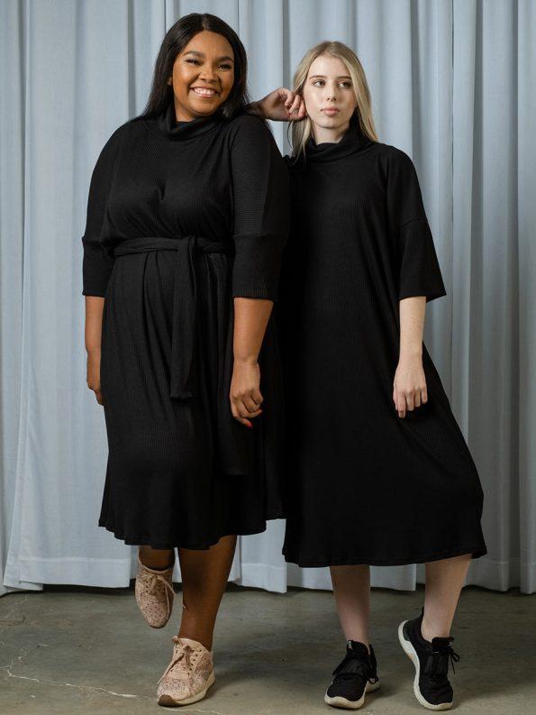 IDV Knit Polo Dress Black Pair
