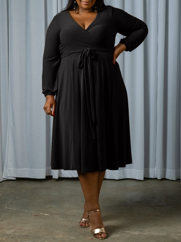 IDV Midi Wrap Dress Black Front 2