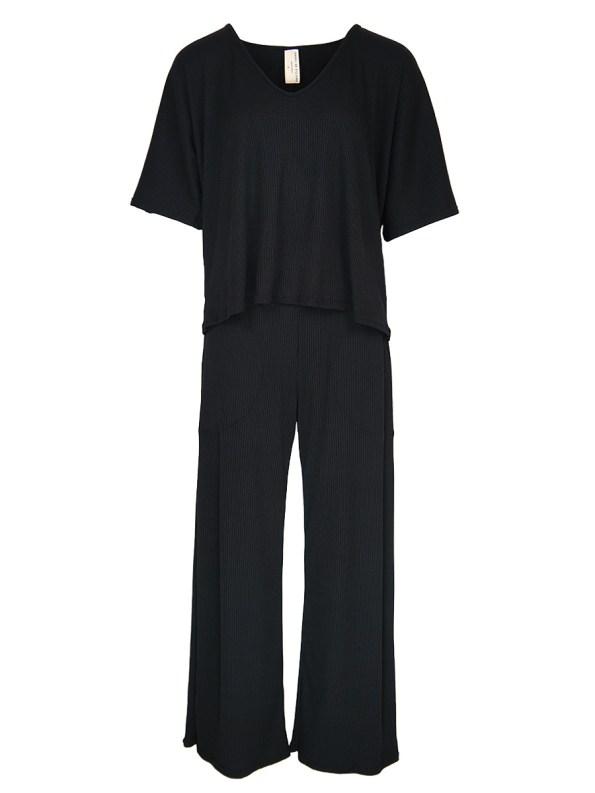 IDV Vneck Knit Set Black