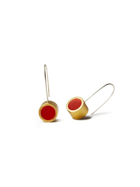 Red hanging earring with brass made in South Africa