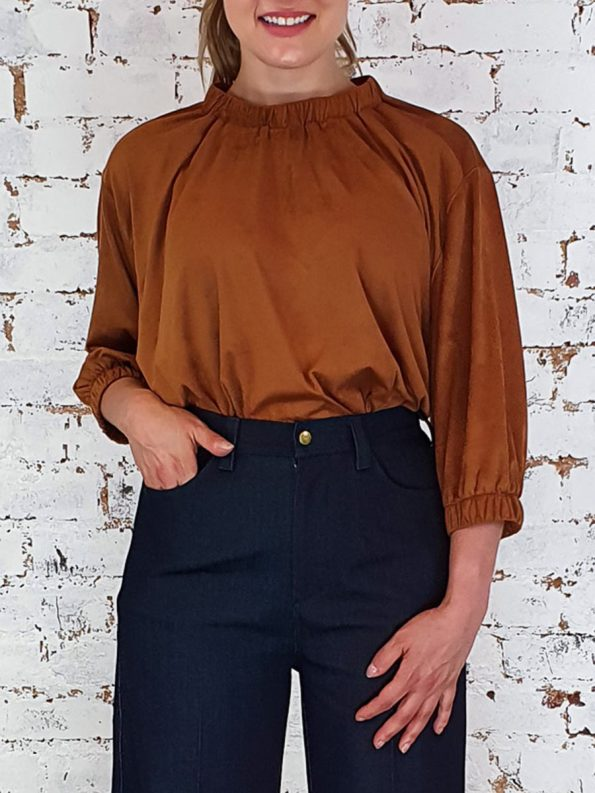 JMVB Faux Suede Top Caramel Cropped