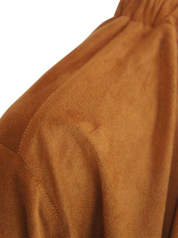 JMVB Faux Suede Top Caramel Detail