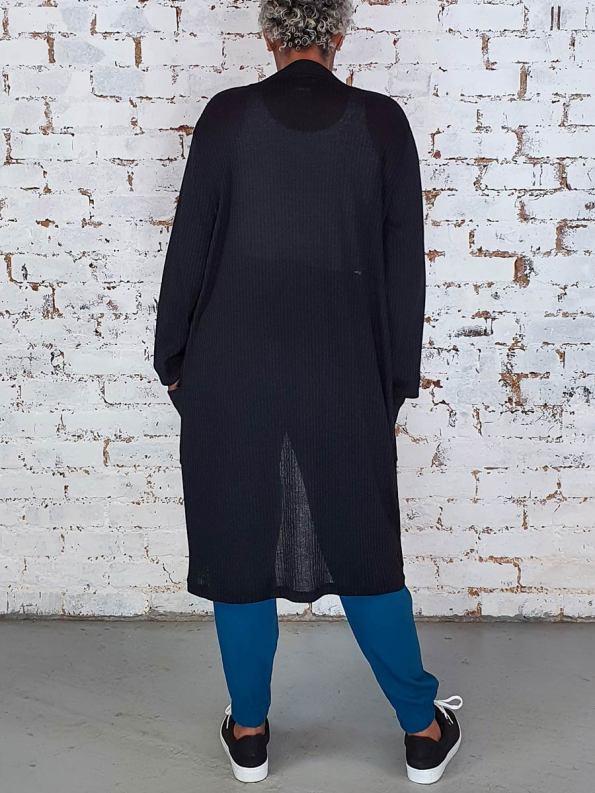 JMVB Long Sheer Cardigan Black Back