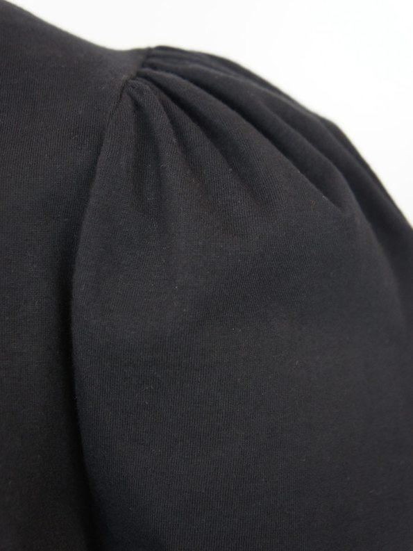 JMVB Puff Sleeve Stretch Top Black Closeup